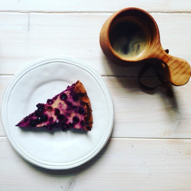 Blueberry pie and a coffee in a Kuksa cup fromhellip