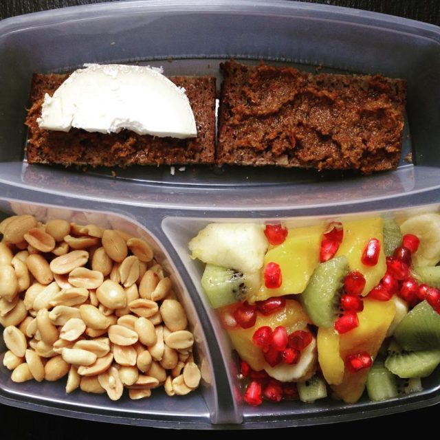 Lunch box with rye bread with dried tomato pesto toppedhellip