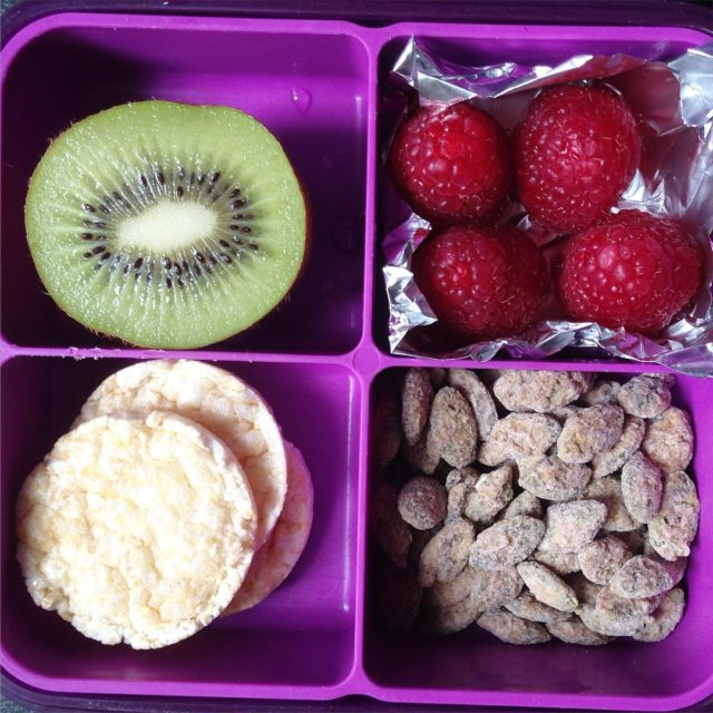 Snack box with fruit rice crackers and roasted pumpkin seedhellip