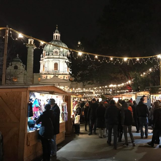 The Christmas market on Karlsplatz the Karls church in thehellip