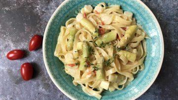 recept za tjesteninu s umakom od šparoga i rajčica